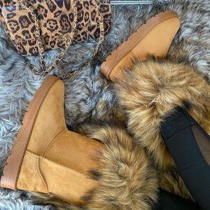 Asymmetrical Tan Faux Fur Boots